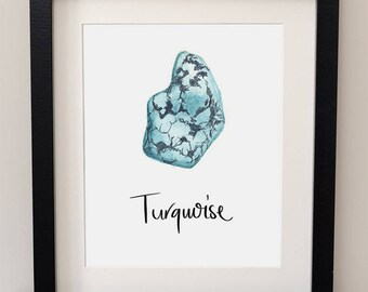 Turquoise Stone, Semi Precious Stone, Gemstone Art, Geology Wall Art, Mineralogy Art, Natural Science, Watercolor, Print, Illustration,