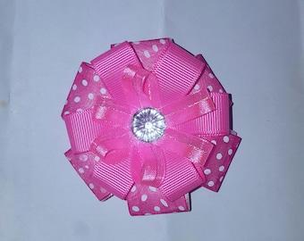 Pink Ribbon with white polka dots