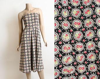 Vintage 1950s Dress - Floral Rose Print Strapless Summer Dress - Cotton Day Dress - Rockabilly Pin-Up Sundress - Small