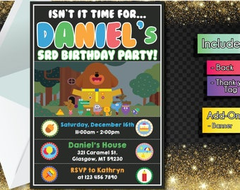 Hey Duggee INVITATION with FREEEE Thank you card! Hey Dugee Party Invitation, Birthday Banner