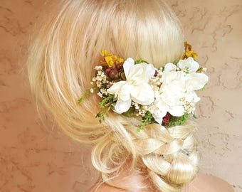 Bridal Headpiece,  Hair Vine, Wedding Hair piece,  Flower headpiece, Ivory Headpiece,  Bridal Hair Vine, Floral Headpiece,  Bridal Accessory