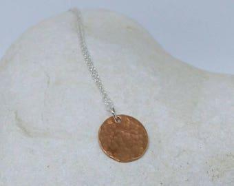 Hammered copper disk pendant