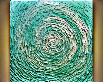 Original Abstract   Aqua  Metallic Palette Knife Impasto textured Wall Art  Painting .Made2Order.