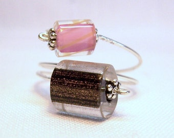 Adjustable Sterling Silver Ring with Pink & Brown Furnace Art Glass