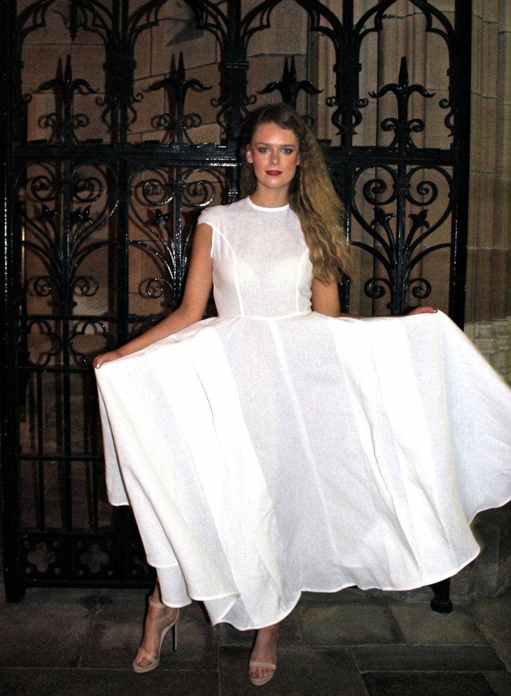 Maxikleid aus Leinen Leinen Hochzeitskleid