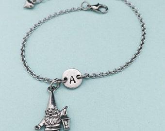 Gnome charm bracelet, gnome charm, adjustable bracelet, gardening, personalized bracelet, initial bracelet, monogram