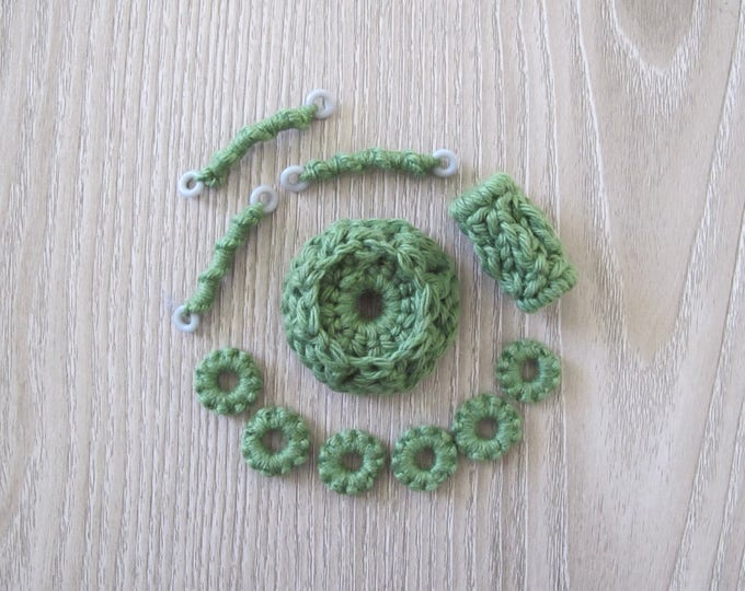 Fiberpunk Beads - Green - 11 Piece Set - Fiber Beads - Crocheted and Tatted Beads for Jewelry Making - Jewelry Components