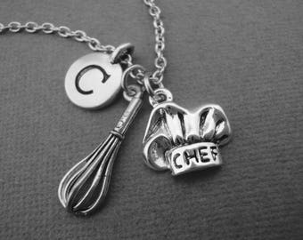 Chef Hat and Whisk Necklace, Chef Hat and Whisk Keychain, Chef Hat and Whisk Bangle Bracelet, Culinary Student Restaurant Owner Baking Baker