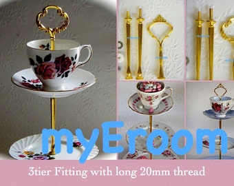 3 tier Cake Stand Fitting with longer 20mm thread to accommodate a cup and saucer together on top tier