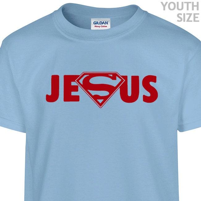 YOUTH / KIDS Super Jesus Logo T Shirt Funny Kids Superman
