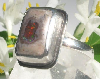 Fire Opal Ring - Sterling Silver Mexican Fire Opal ring - US size 8.25 - silver Mexican Boulder Opal ring - size 8 1/4 - square fire opal