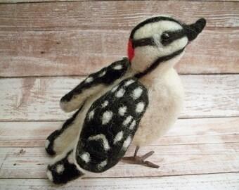 Backyard Bird, Felted Bird, Handmade Woodpecker, Nature Gift, FeltWithAHeart