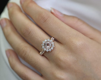 1.15 CT. Diamond Engagement Ring/Natural 7mm Morganite Ring/Diamond Wedding Ring/14k Rose Gold Engagement Ring/Rose Gold Diamond Ring