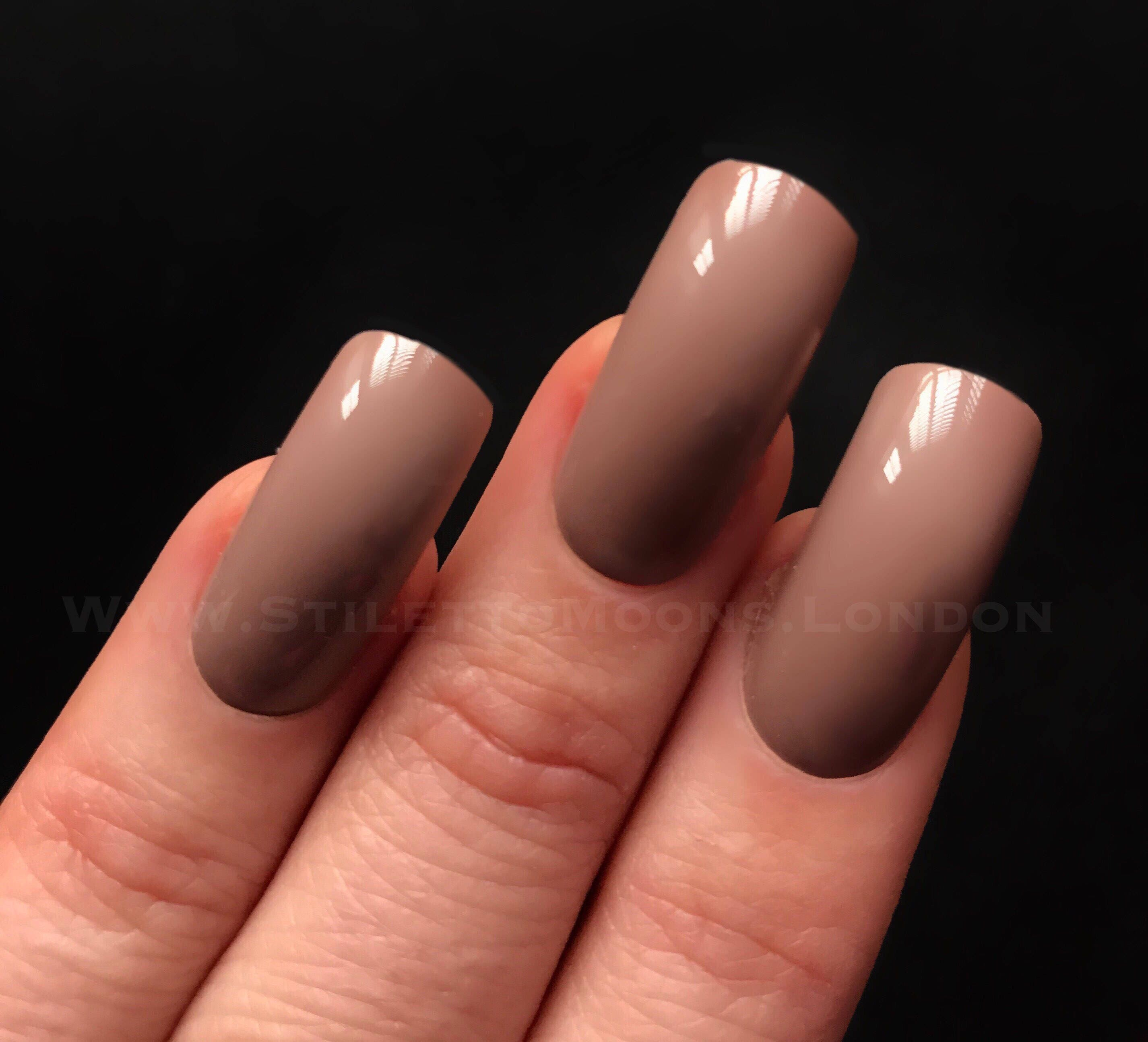 Coffee creme taupe long square false nail set. Stiletto claw coffin ...