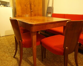 Unique vintage set of furniture by Czech designer Jindrich Halabala (50s) for living or dining room incl. chairs H-214