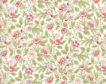 Poetry Fabric - Moda Fabric - Half Yard - Floral Flowerbed Porcelain White Small Scale Flowers Roses Pink 3 Sisters Fabric 44134 11