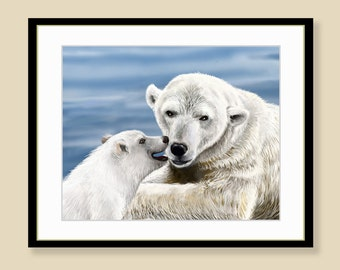 Polar Bears Print - mum & Cub