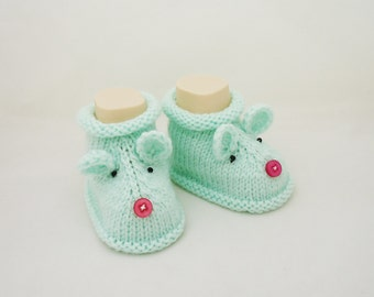 Knitt Baby Booties,Mouse booties, Cute Baby Booties, Mint Booties, Hand Knitt Mouse Booties, Mouse Booties in Mint