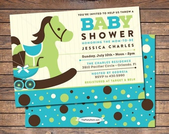 Rocking Horse Baby Shower Invitation, blue, brown, green, custom boy shower invites, printable, more invitations and decorations available
