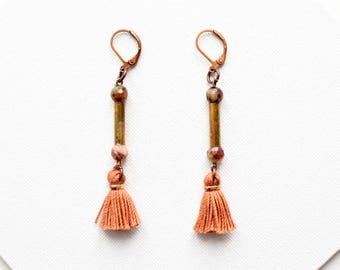 Long Tassel Earrings, Fringe Earrings for Women, Small Tassel Earrings, Column Earrings, Boho Earrings, Modern Earring, Contemporary Jewelry