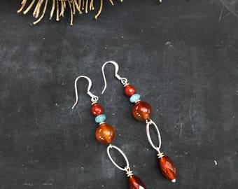 Earrings Let's PLAY. Handmade earrings with gemstone carnelian and quartzite.