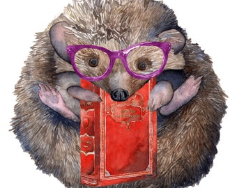 Watercolor Print Reading Nerdy Hedgehog 8.5 x 11