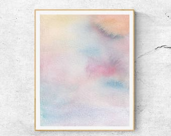 Pink Blue Abstract Watercolor Print, Contemporary Art Print, Abstract Wall Art, Modern Wall Art, Blush Print, Watercolor Print