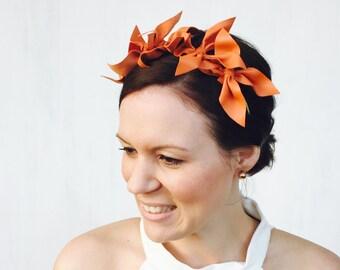 CHENAYDE: orange leather crown / headpiece - races, special events