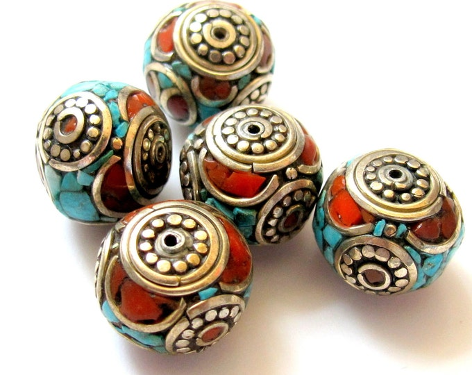 Nepalese oval shaped brass beads with turquoise coral inlaid - 2 beads - BD239
