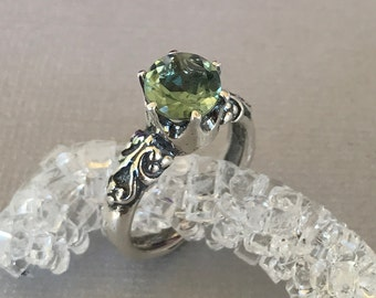 Natural Green Amethyst Vintage Design Crown Ring Sterling Silver Round Green Amethyst Stone Oxidized Engagement Promise Crown Solitaire Ring