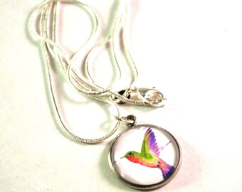 Necklaces for Women, Hummingbird Necklaces, Ready to Ship, Silver Necklace, Chain Necklaces, 22 inch Necklace, Bird Necklace