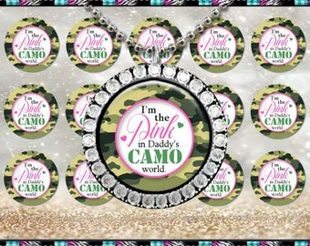 "Pink In Daddys Camo World - INSTANT DIGITAL DOWNLOAD - 1"" Bottlecap Craft Images (4x6) Digital Collage Sheet"