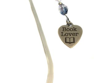 "Handmade Glass Beads Beaded ""Book Lover"" Stainless Steel Heart Charm Metal Bookmark Gift"