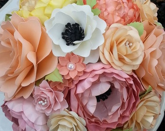 Paper Bouquet - Paper Flower Bouquet - Wedding Bouquet - Shades of Peach and Pink - Custom Made - Any Color