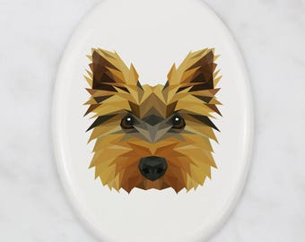 A ceramic tombstone plaque with a Yorkshire Terrier dog. Art-Dog geometric dog