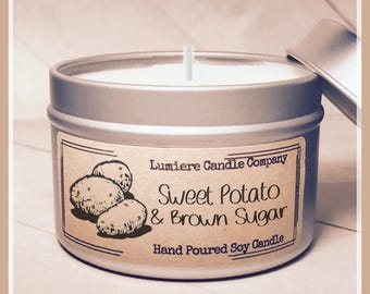 SWEET POTATO & BROWN Sugar scented Candle |  Vegan Soy Candle |  Natural Soy Candle | Thanksgiving Candle | Winter Candle | Fall Candle
