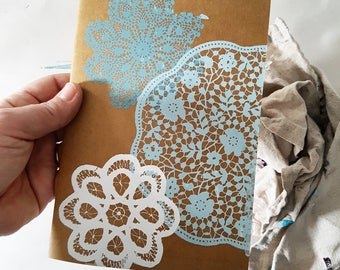 Blank Note Book- Doily Print