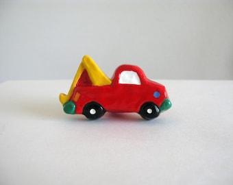 Tow Truck Knob - Dresser Drawer Knob - ceramic pull red yellow kids room