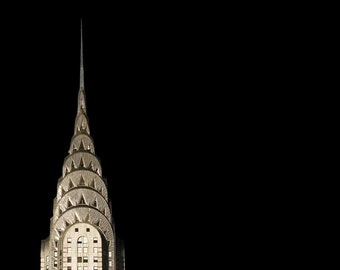 New York Print, Chrysler Building,  Black, Gold, Art Deco, New York City Print, Travel Photography