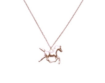 Tiny Horse Necklace, Pony Unicorn Small Pendant, Golden Cowgirl Country Rustic Girls Gift Equine Equestrian Saddle