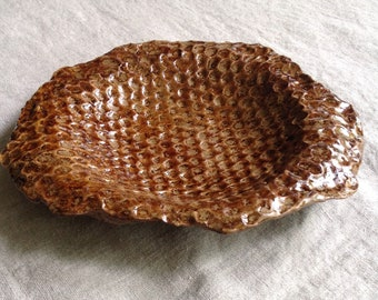 Hand formed honeycomb pottery bowl