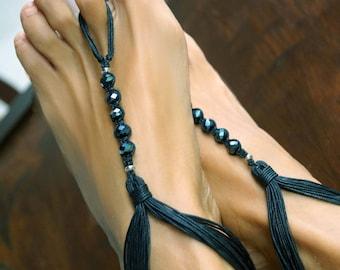 Black Crystal Barefoot Sandals, Beach Wedding Sandals, 1 Pair