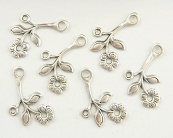 Antiqued Silver Flower, Leaf  Stamping, Right Facing Drop, Flower Charm  12mm x 22mm - 6 pcs. (sl145)