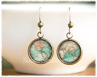Map Earrings • World Map Jewelry • World Map Gift • Long Distance Friendship • Vintage World Map • Travel Gift