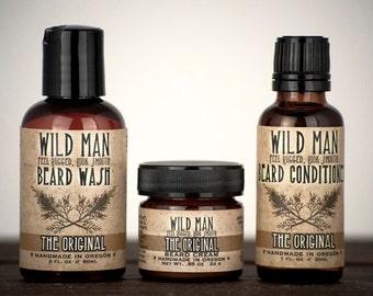 Mens Grooming Kit - Wild Man Beard Gift Set - Three Pack - Beard Oil Conditioner, Beard Wash and Beard Cream