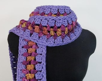 Boho Crocheted Scarf - Long Fringed Scarf - OOAK Multicolored Scarf with Handspun Yarn - Item 1287a