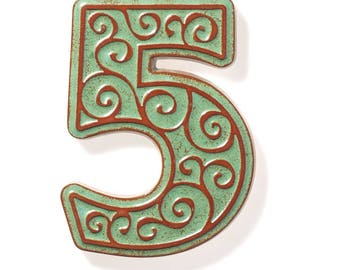 ceramic house number 5 , green-brown
