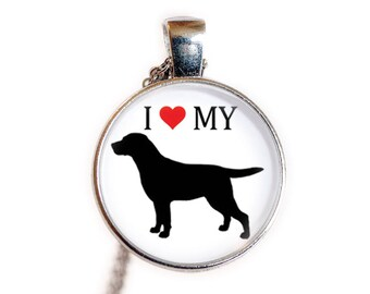 I Love My Labrador Retriever | Labrador Retriever Gift, Jewelry | Labrador Necklace, Pendant | Dog Breed Necklace, Pendant | Love My Dog