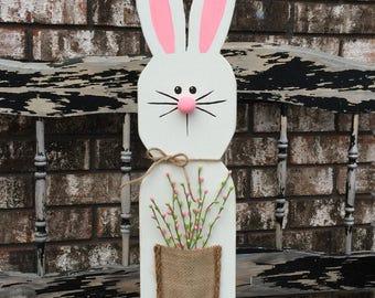White Wooden Bunny Stand / Wooden Easter Bunny / Spring decor / Easter decor / home decor / farmhouse style decor