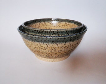 Speckled Tan and Green Bowls